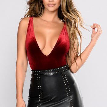Treat Me Better Velvet Bodysuit - Wine