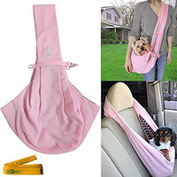 Portable Foldable Dog Cat Pet Outdoor Cloth Single Shoulder Sling Carrier Bag, Double Sided (Pink)