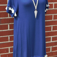 Jodifl Navy Tshirt Dress w/Tassels