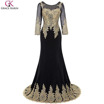 Real Photo Sleeve Long Mermaid Prom Dresses 2017 Grace Karin Gold Lace Appliques Caftan Dubai Sexy See Through Black Ball Gown
