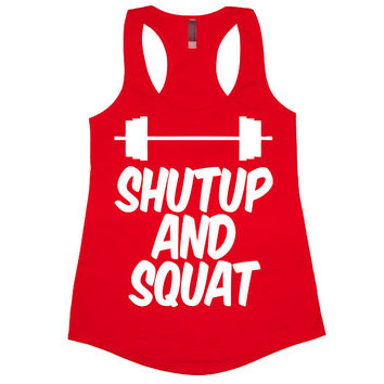 Shut Up And Squat Tank Top Workout Gym Womens Tee Shirt Funny Racerback