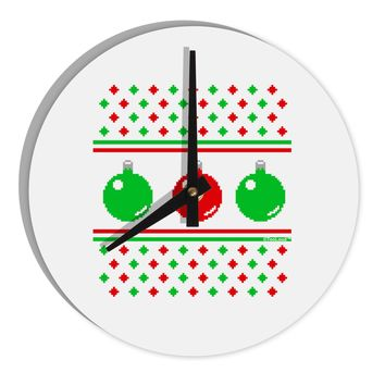 """TooLoud Ugly Christmas Sweater Ornaments 8"""" Round Wall Clock"""