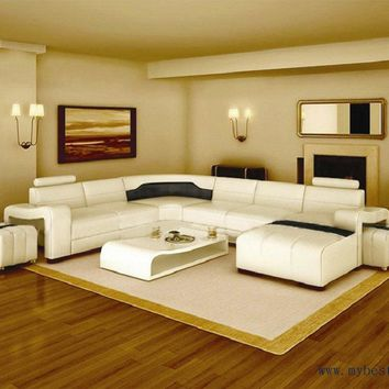 Free Shipping Modern Design, Best Living Room furniture , White leather sofa set with ottoman sofa S8714