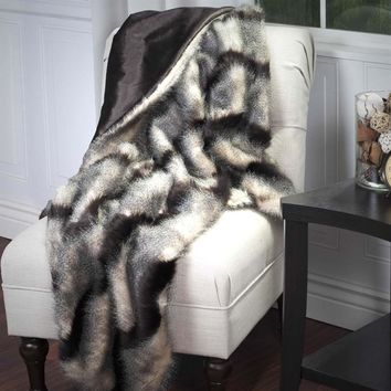 Ben and Jonah Long Haired Striped Faux Fur Throw Blanket (Brown)