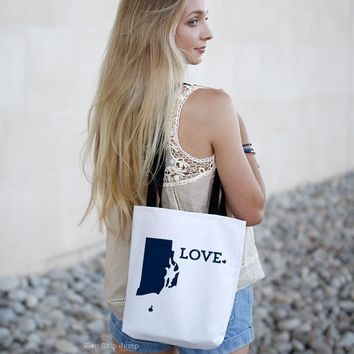 Rhode Island Love Canvas Tote Bag | HopSkipJumpPaper