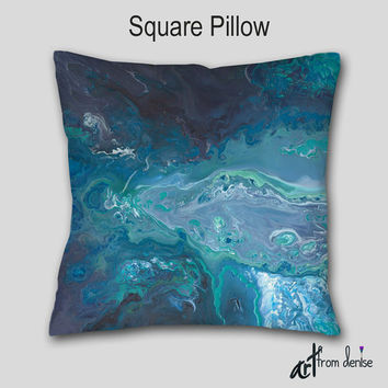 Turquoise gray throw pillow, Teal blue aqua, Abstract art, Decorative accent Pillow finished, Cover Case, Designer, Contemporary Home decor