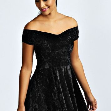 Niami Velvet Skater Dress | Boohoo