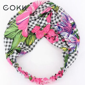 COKK Hair Accessories Women Flower Headband Elastic Elegant Hair Holder Ornament Bandanas Hairbands Wide Hair Scarf Bow Turban
