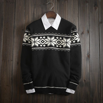 Mens Comfortable FAIR ISLE Snowflake Knitted Sweater