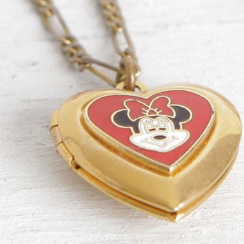Vintage Minnie Mouse Necklace, Disney Jewelry, Minnie Mouse Locket, Heart Locket Necklace