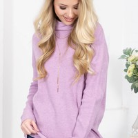 Lavender Fields Turtleneck Sweater