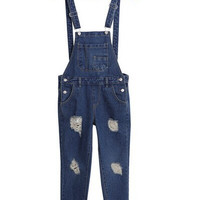 Ripped Accent Denim Suspender Jumpsuit