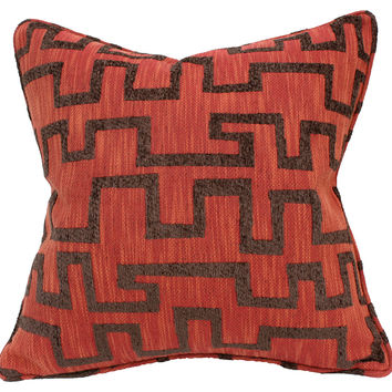 Barclay Butera, Beat 22x22 Cotton-Blend Pillow, Rust, Decorative Pillows