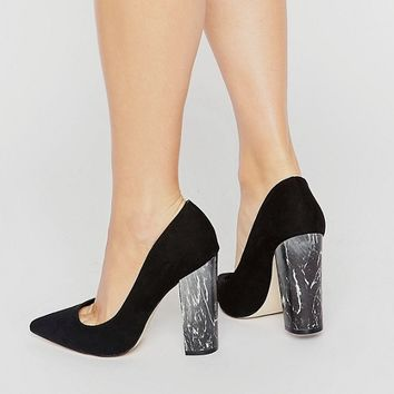 New Look Marble Effect Block Heel Shoes at asos.com