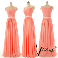 Custom Made Elegant Evening Party Gown Long Chiffon Crystal Cap Sleeve Evening Dress 2014 Bridesmaid Dresses for Wedding