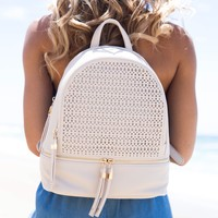 Jasmine Eyelet Backpack In Cream