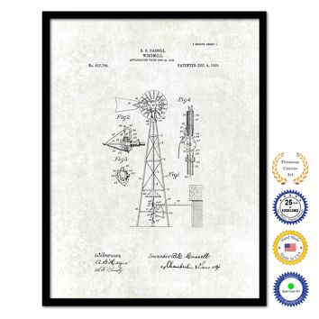 1906 Farming Windmill Vintage Patent Artwork Black Framed Canvas Print Home Office Decor Great for Farmer Milk Lover Cattle Rancher