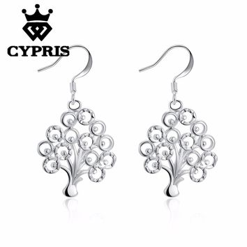 NEW ARRIVAL Silver tree of life hot classic religion totem lady earrings drop gift xmas hot fancy plant round girlfriend female