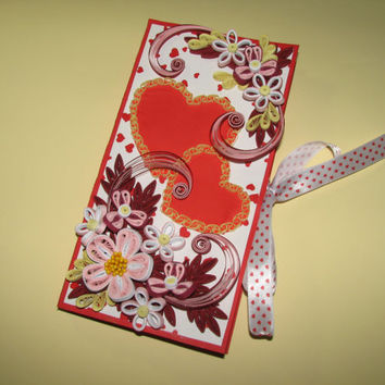 Card Chocolate 3d Greeting card Card Valentine's Day Handmade card Valentine's Day gift Card for her Flowers card Gift Box for Chocolate