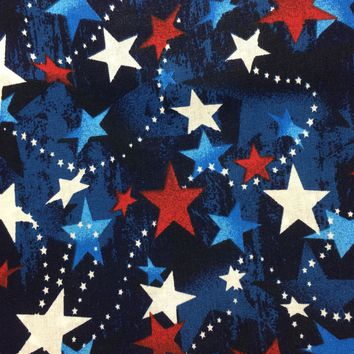 """Red White Blue Stars ~ Patriotic Stars Material~ 43/44"""" 100% Cotton- Fabric by the yard"""