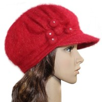 Dahlia Women's Flower Accent Wool Blend Newsboy Hat Cap