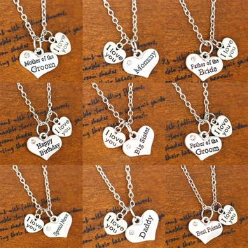 I Love You Mother Father Sister OF Bride Groom Birthday Heart Pendant Necklace Women Men Family Jewelry Chain Gift Party Wedding