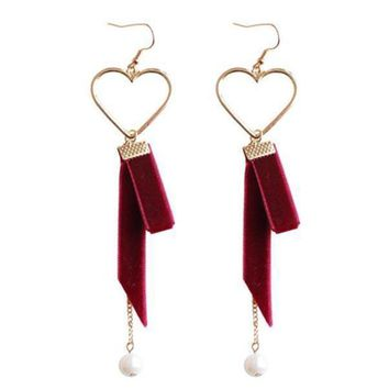 VELVET AND PEARL HEART DROP EARRINGS