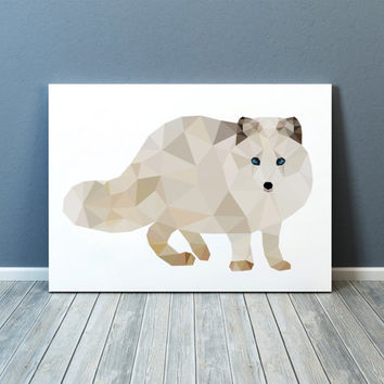 Polar fox art Colorful decor Nursery poster Animal print TOA73
