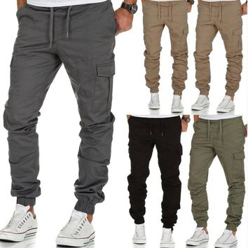 multi-pocket mens joggers pants cotton cargo trousers casual fear of god Solid color harem sweatpants pantalon hombre deportivo