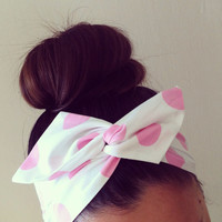 SALE MUST GO Baby Pink Polka Dot Dolly Bow Headband