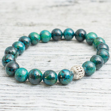 Green phoenix stone beaded stretchy bracelet, custom made yoga bracelet, mens bracelet, womens bracelet