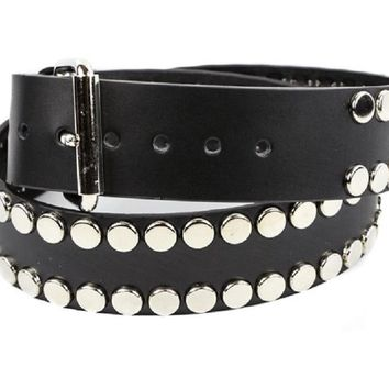 "Silver Flat Studded Quality Black Leather Belt 1-3/4"" Wide"