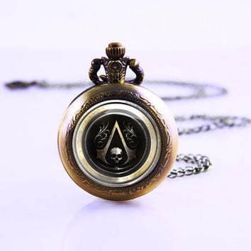 Personalitied Assassin's Creed Pocket Watch,Bronze pocket watch,pocket watch necklace,Pendant necklace