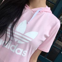 Adidas Women's Hooded Pink/Black Pullover Dress One-nice™