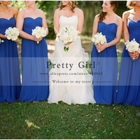 Elegant Royal Blue Long Bridesmaid Dresses Cheap Fashion Criss-Cross Sweetheart Backless Sexy Formal Wedding Party Dress 2016
