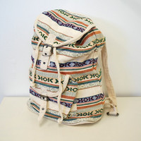 Vintage Large Cotton Backpack