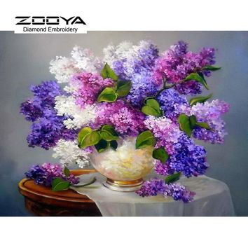 DIY Diamond Painting Needlework Square Full Diamond Embroidery Purple Lilac Flower Vase Painting Pattern Home Decoration