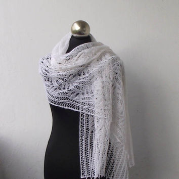 bridal cover up, White knit lace shawl, hand knitted lace stole ,wedding shawl with Frost Flowers pattern,  bridal shawl, knit wedding shawl