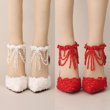 White Pearl lace crystal bride shoes, fringed wristband, red pointed wedding shoes, hollow female sandals, summer