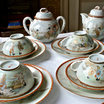 20 Piece Japanese Eggshell Handpainted China Tea Set For 6