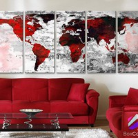 """XLARGE 30""""x 70"""" 5 Panels 30""""x14"""" Ea Art Canvas Print Watercolor Texture Map Old brick Wall color red black white decor Home interior"""