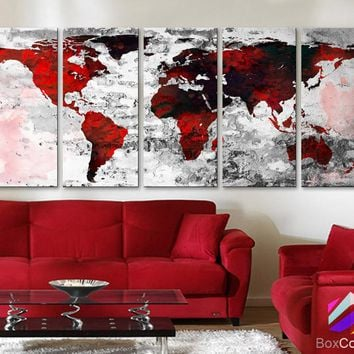 "XLARGE 30""x 70"" 5 Panels 30""x14"" Ea Art Canvas Print Watercolor Texture Map Old brick Wall color red black white decor Home interior (framed 1.5"" depth)"