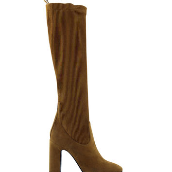 Pierre Hardy Ace Tall Suede Kid Boot - Brown Suede Chunky Heel Boot