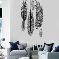 Wall Vinyl Decal Feather Romantic Bedroom Guaranteed Quality Decor z3687
