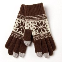 Warmen Women's Touch Screen Wool Winter Gloves Mittens for Ipad Iphone Smart Phone (Coffee)