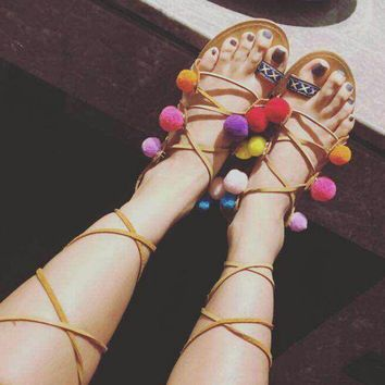 Mixed Colors Straps Bohemia Style Sandals Open Toe Lace Up Flat Multi Pom Pom Shoes