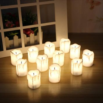 Flameless Electronic LED Cylindrical Flickering Candles Wedding Decoration (Qty 12)