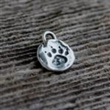 MyGodTags Sterling Silver Paw Print Charm
