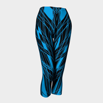 Lady's Capri leggings Summer Capri Yoga leggings Three-quarter leggings with unique pattern Modern blue print