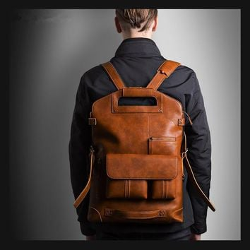 New Leather Backpacks Men Laptop Designer Backpack Large Capacity Business Shoulder Bag Men Motorcycle Computer Daypacks Mochila